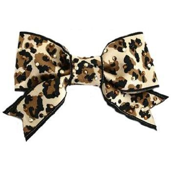 Tarina Tarantino - Animal Print Ribbon Bow Anywhere Clip w/ Crystals - Golden Shadow