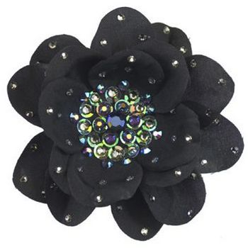 Tarina Tarantino - Large Poppy Flower Anywhere Clip - Black Diamond