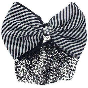 HB HairJewels - Lucy Collection - Black Lace Snood with Black and White Striped Crystal Bow
