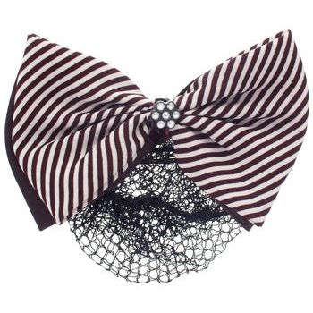 HB HairJewels - Lucy Collection - Black Lace Snood with Chocolate and White Striped Crystal Bow