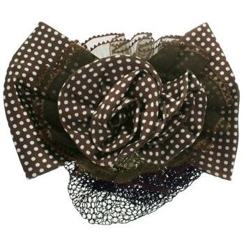 HB HairJewels - Lucy Collection - Black Lace Snood with Chocolate and White Polka Dot Flower Bow
