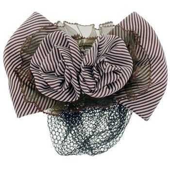 HB HairJewels - Lucy Collection - Black Lace Snood with Chocolate and White Striped Flower Bow