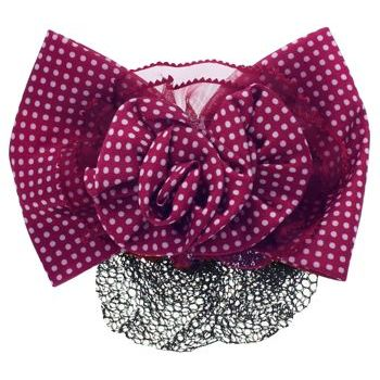 HB HairJewels - Lucy Collection - Black Lace Snood with Red and White Polka Dot Flower Bow