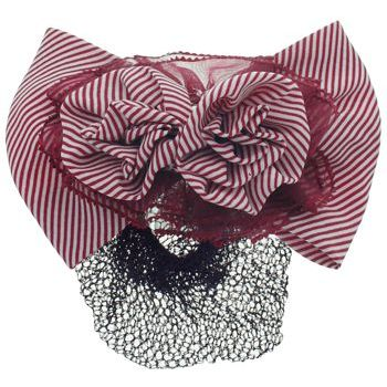 HB HairJewels - Lucy Collection - Black Lace Snood with Red and White Striped Flower Bow