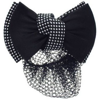 HB HairJewels - Lucy Collection - Black Lace Snood with Black and White Polka Dot Zig Zag Bow