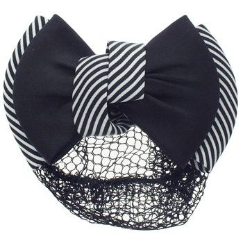 HB HairJewels - Lucy Collection - Black Lace Snood with Black and White Striped Zig Zag Bow