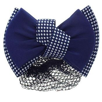 HB HairJewels - Lucy Collection - Black Lace Snood with Navy and White Polka Dot Zig Zag Bow