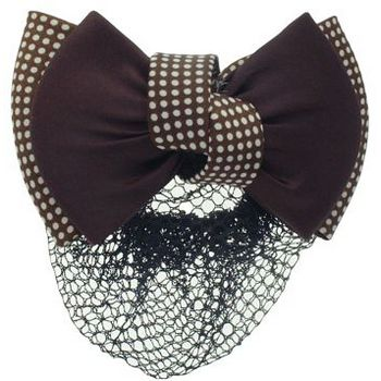 HB HairJewels - Lucy Collection - Black Lace Snood with Chocolate and White Polka Dot Zig Zag Bow