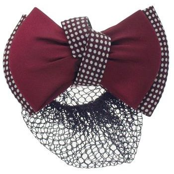 HB HairJewels - Lucy Collection - Black Lace Snood with Red and White Polka Dot Zig Zag Bow