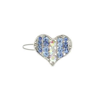 Karen Marie - Mini Crystal Heart Barrette - Blue (1)