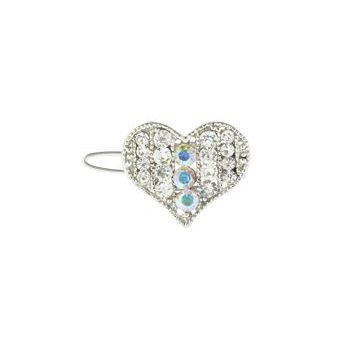 Karen Marie - Mini Crystal Heart Barrette - White (1)