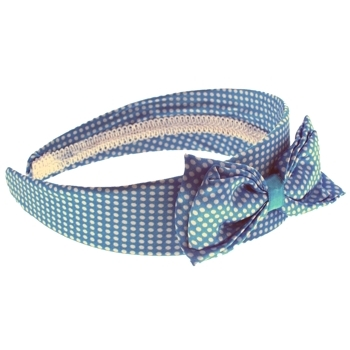 Karen Marie - Satin Polka Dot Headband w/Large Bow - Blue (1)