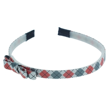 HB HairJewels - Lucy Collection - Preppy Argyle Headband w/Bow - Grey & Coral (1)