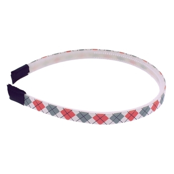 HB HairJewels - Lucy Collection - Skinny Argyle Headband - Grey & Coral (1)
