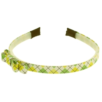 HB HairJewels - Lucy Collection - Preppy Argyle Headband w/Bow - Lemon & Lime (1)