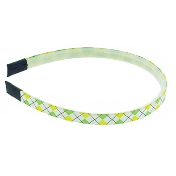 HB HairJewels - Lucy Collection - Skinny Argyle Headband - Lemon & Lime (1)