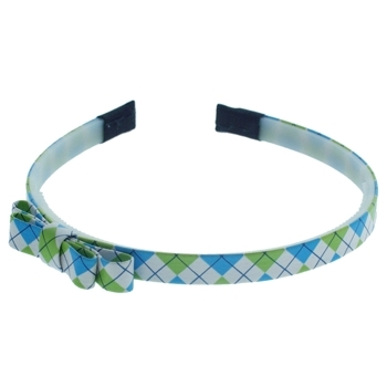 HB HairJewels - Lucy Collection - Preppy Argyle Headband w/Bow - Aqua & Lime (1)