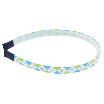 HB HairJewels - Lucy Collection - Skinny Argyle Headband - Aqua & Lime (1)