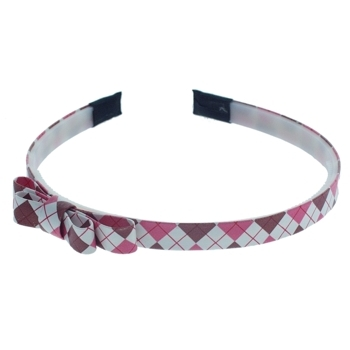 HB HairJewels - Lucy Collection - Preppy Argyle Headband w/Bow - Pink & Chocolate (1)
