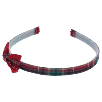 HB HairJewels - Lucy Collection - Classic Plaid Headband w/Bow - Red (1)