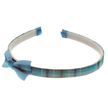 HB HairJewels - Lucy Collection - Classic Plaid Headband w/Bow - Aqua (1)