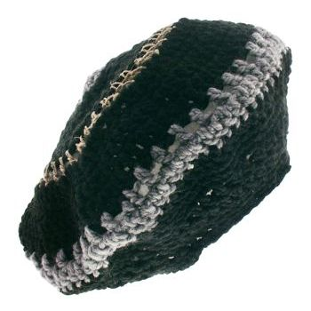 Knotty Boy - Hand-Knit Tam - Black/Grey Wool w/ Hemp