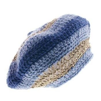 Knotty Boy - Hand-Knit Tam - Light/Dark Blue Wool w/ Hemp