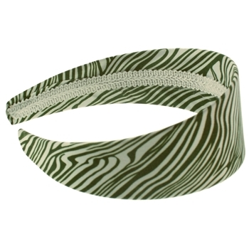 HB HairJewels - Lucy Collection - Satin Zebra Stripe Headband - Green (1)