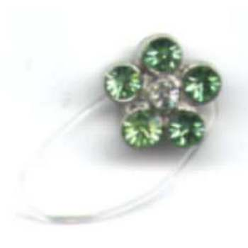 Rhinestone Flower Toe Ring - Peridot