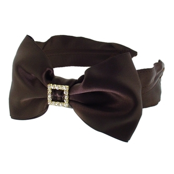 DaCee Designs - Large Satin Bow w/Rhinestone Buckle Headband - Chocolate