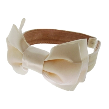 DaCee Designs - Velvet Wire Headband w/Double Bow - Ivory