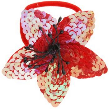 HB HairJewels - Sequined Flower Ponytail Holder - Red