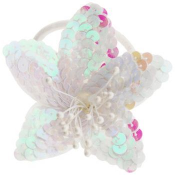 HB HairJewels - Sequined Flower Ponytail Holder - White