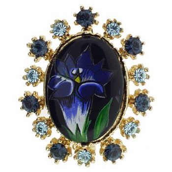 Alex and Ani - Vintage Inspired Flower Brooch Pin - Midnight Blue (1)