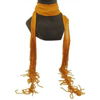 Chan Luu - Small Chiffon Scarf w/ Beaded Fringe - Rich Pumpkin