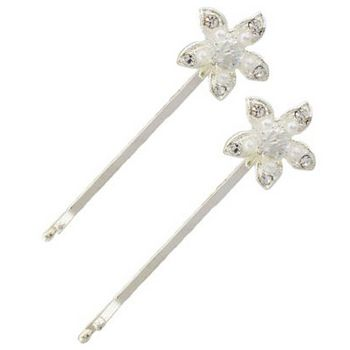 Betty Wales - Crystal & Pearl Stargazer Flower Bobby Pins (Set of 2)