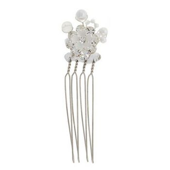 Betty Wales - Small Enamel Flower w/ Pearls Hairpins (1)