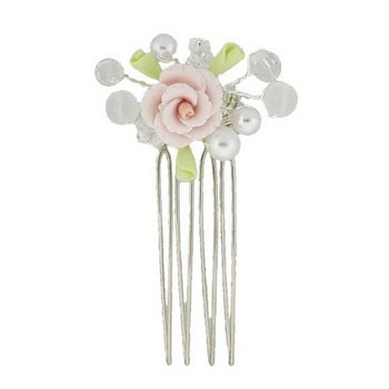 Betty Wales - Pearl & Crystal Flower Pin
