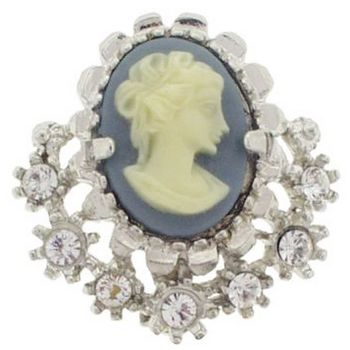 Alex and Ani - Blue Cameo w/ Crystals Brooch in Silver (1)
