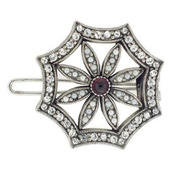 Linda Levinson - Brooch Hairclip - Silver w/Garnet Center - White Diamond Swarovski Crystals (1)