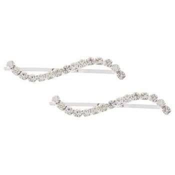 Karen Marie - Bridal Collection - Curvy Crystal S Bobby Pins (Set of 2)