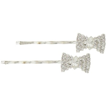 Karen Marie - Crystal Bowtie Bobby Pins - White/Silver (Set of 2)