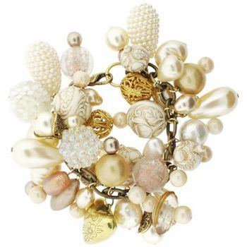 Dame Design - Brass Charm Bracelet - Cream Gold Hues (1)