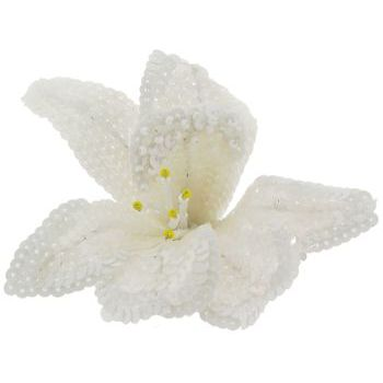Eve Reid - Sequin Flower Pin - Hairpin/Pin (1) White