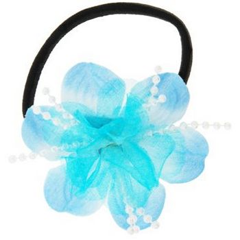 HB HairJewels - Lucy Collection - Chiffon & Pearl Flower Pony - Sky Blue