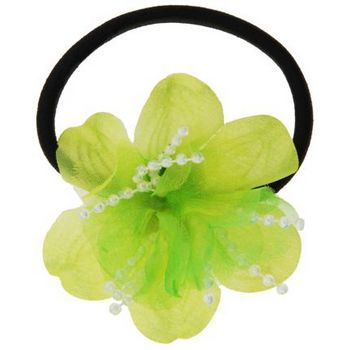 HB HairJewels - Lucy Collection - Chiffon & Pearl Flower Pony - Lime