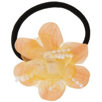 HB HairJewels - Lucy Collection - Chiffon & Pearl Flower Pony - Peach