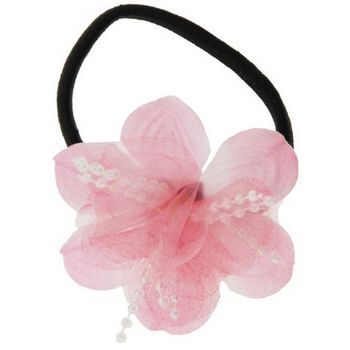 HB HairJewels - Lucy Collection - Chiffon & Pearl Flower Pony - Cotton Candy Pink