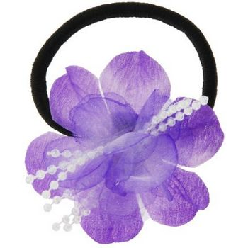 HB HairJewels - Lucy Collection - Chiffon & Pearl Flower Pony - Lavender