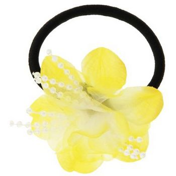 HB HairJewels - Lucy Collection - Chiffon & Pearl Flower Pony - Buttercup Yellow